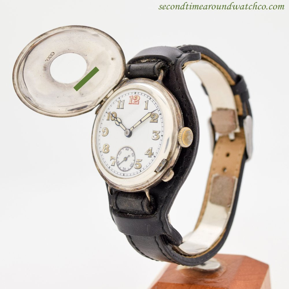 1910's Vintage Military WWI-era Sterling Silver Watch with a Half-Hunter Case