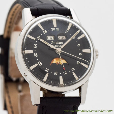 1970's Zodiac Triple Date Moonphase Stainless Steel Watch