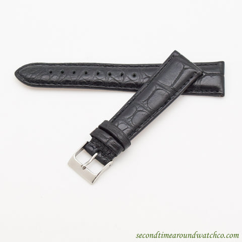 100% Genuine Alligator Watch Straps -- Matte Black