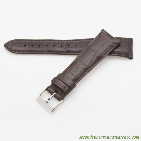 100% Genuine Alligator Watch Straps -- Matte Dark Chocolate Brown