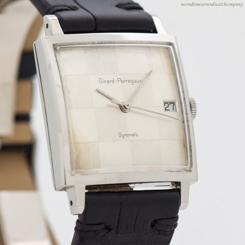 1950's-60's Vintage Girard Perregaux Gyromatic Stainless Steel Watch