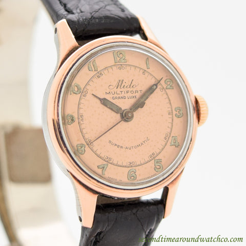 1960's Mido Multifort Grand Luxe Ladies Ref. 1189 14k Rose Gold & Stainless Steel Watch