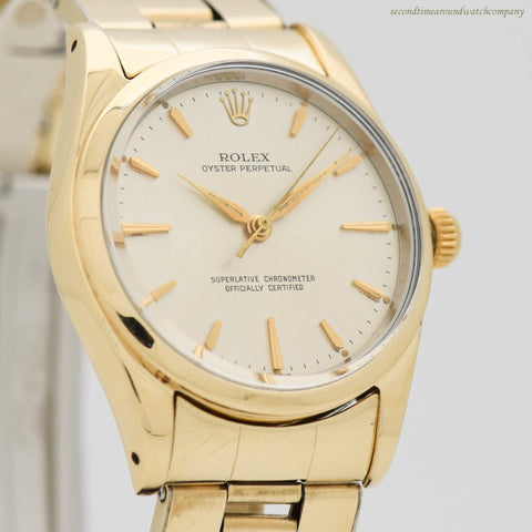1956 Vintage Rolex Oyster Perpetual Ref. 1014 14k Yellow Gold Shell & Stainless Steel Watch