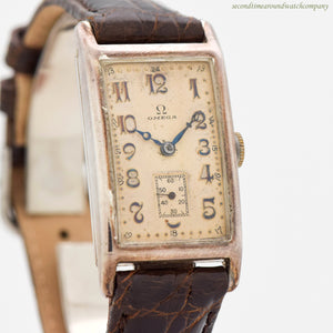 1934 Vintage Omega Rectangular-shaped Silver Watch