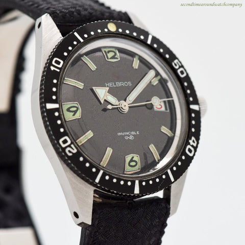 1970's era Helbros Invincible Diver Stainless Steel Watch