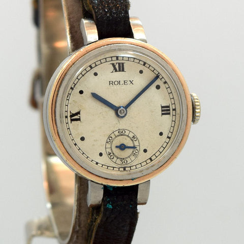 1930's Rolex Ladies 14k Rose Gold And Stainless Steel Ref. 1860