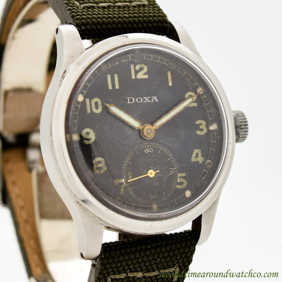 1940's Vintage Doxa Military WWII-era Stainless Steel Watch (# 10947)