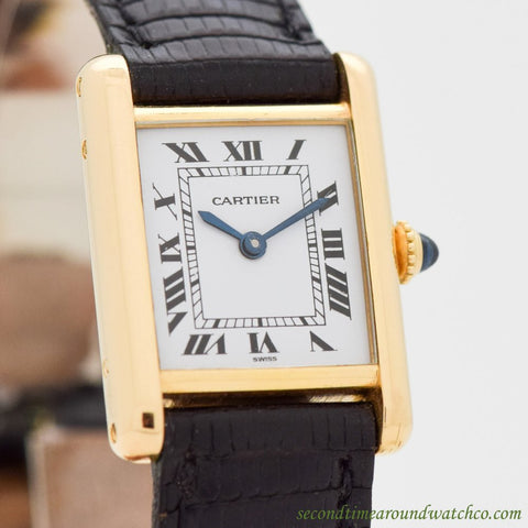 1990's Cartier Tank Ladies Size 18k Yellow Gold Watch