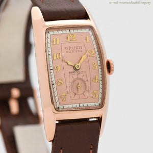 1943 Vintage Gruen Curvex 14k Rose Gold Watch