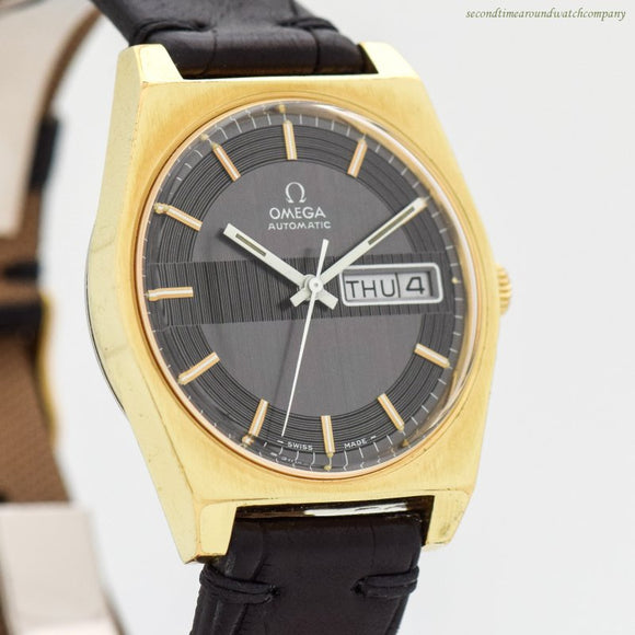 1970 Vintage Omega Day-Date Reference 166.0141 18k Yellow Gold Plated & Stainless Steel Watch