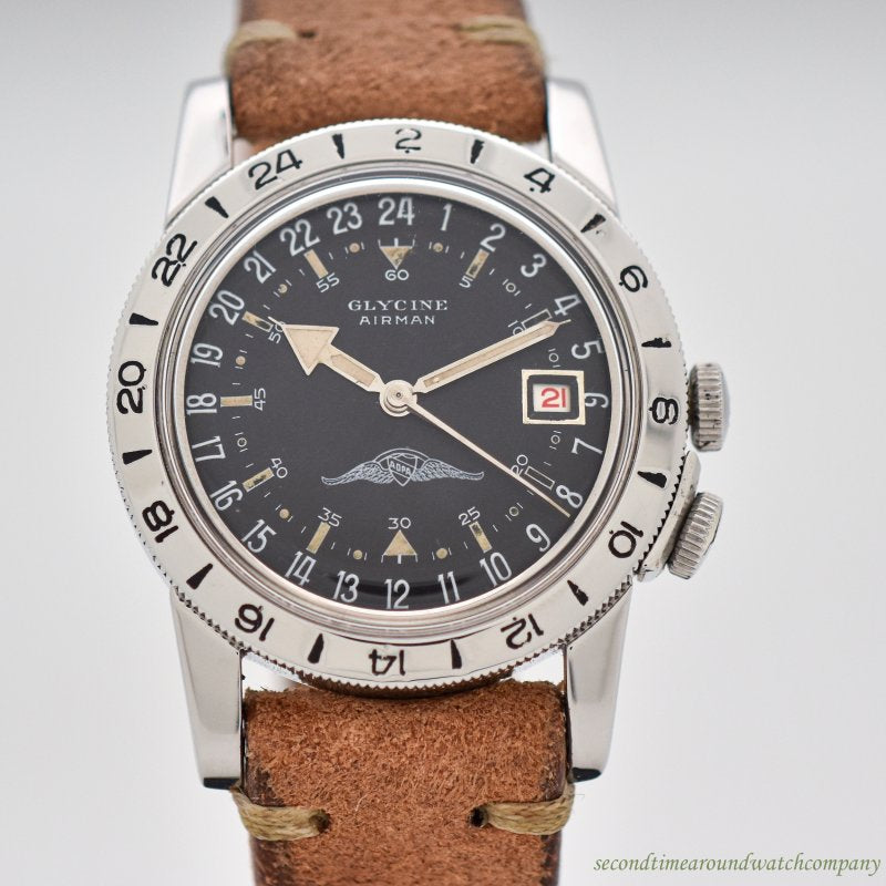 1950's Vintage Glycine Airman AOPA-signature Stainless Steel Watch