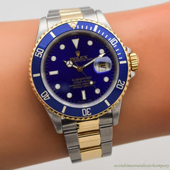 1989 Vintage Rolex Blue Submariner Reference 16613 18k Yellow Gold & Stainless Steel Watch