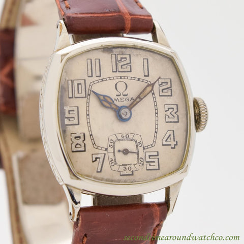 1924 Vintage Omega 14k White Gold Filled Watch