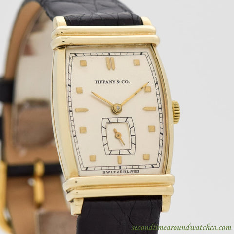 1940's Vintage Tiffany & Co. Rectangular-shaped 14K Yellow Gold Watch