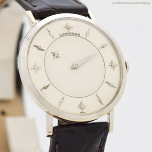 1959 Vintage Longines Mystery Dial 10k White Gold Filled Watch