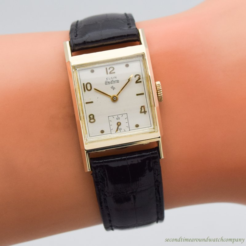 1948 Vintage Elgin De Luxe Rectangular-shaped 10k Yellow Gold Filled Watch