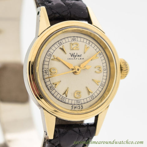 1960's Vintage Wyler Ladies Incaflex 14k Yellow Gold & Stainless Steel Watch