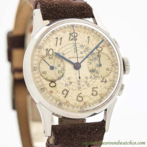 1940's Vintage Wittnauer 2-Register Chronograph Stainless Steel Watch