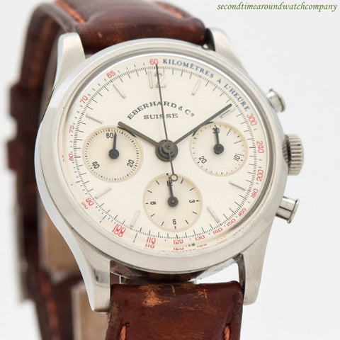 1970's Vintage Eberhard & Co. Contograf Trois Stainless Steel Watch