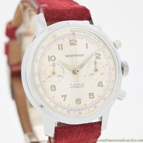 1969 Vintage Wakmann 2 Register Chronograph Chrome & Stainless Steel Watch