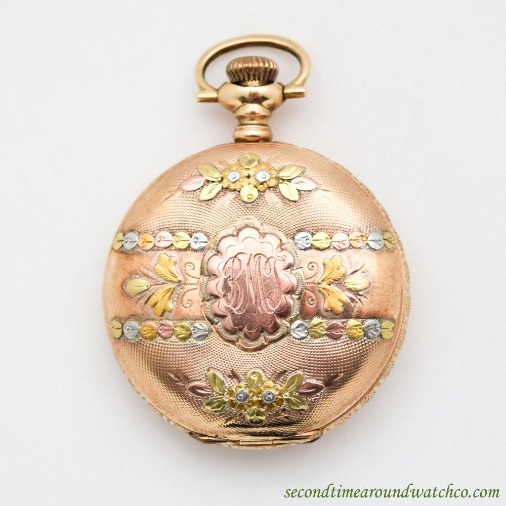SOLD 1899 Vintage Waltham Pocket Watch 14k Yellow, Rose, White, And Green Gold Watch