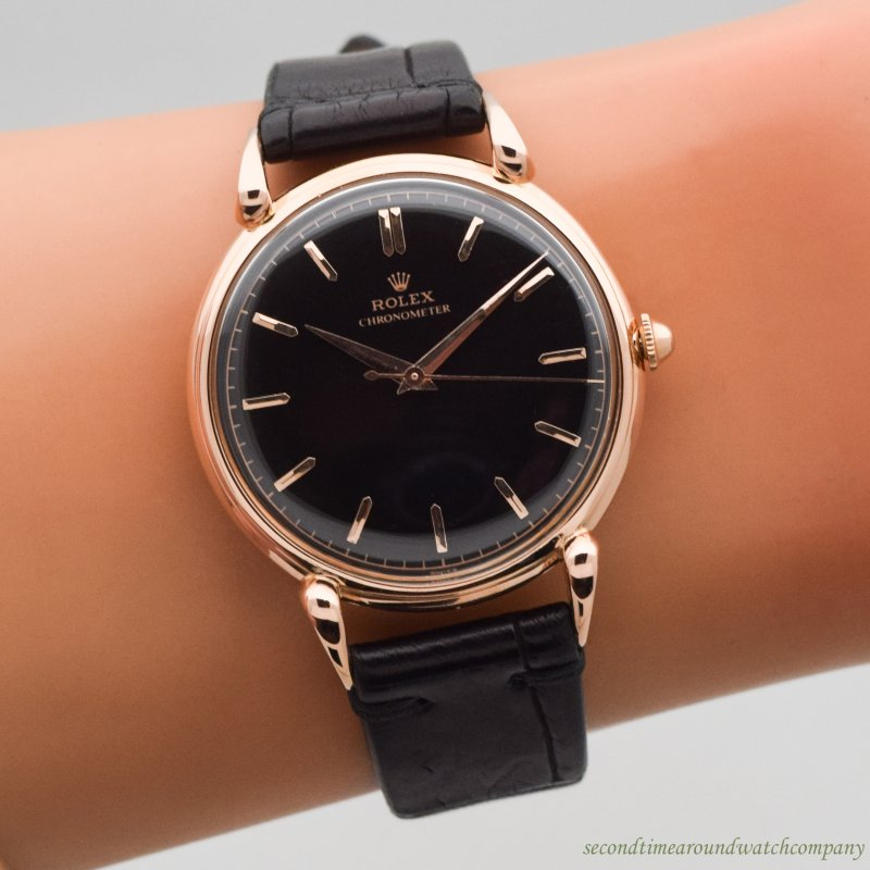 1940's Vintage Rolex Jumbo Reference 4364 18k Rose Gold Watch