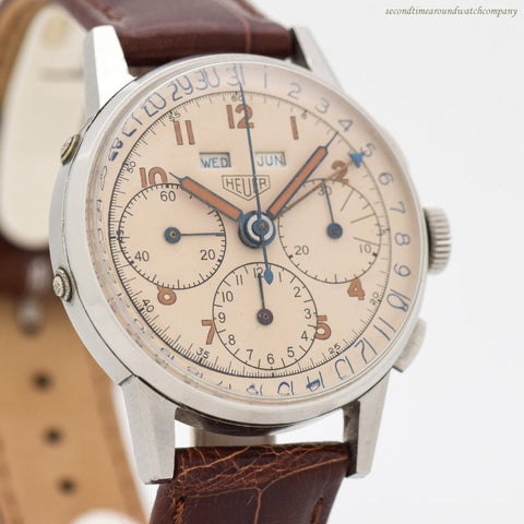 1940's Vintage Heuer Triple Date 3-Register Chronograph Stainless Steel Watch