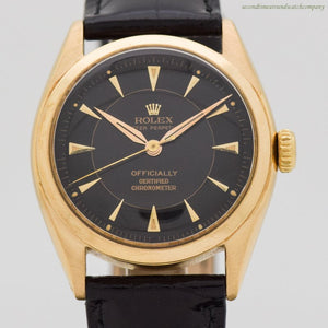 1951 Vintage Rolex Oyster Perpetual Ref. 6084 Semi-Bubbleback 18k Yellow Gold Watch