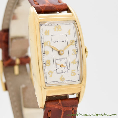 1940 Vintage Longines Rectangular-shaped 14k Yellow Gold Watch