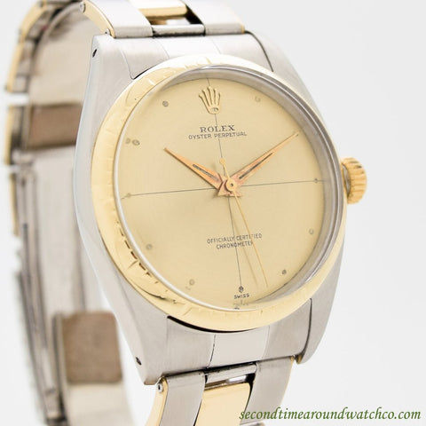 1959 Vintage Rolex Oyster Perpetual Zephyr Ref. 6582 14k Yellow Gold & Stainless Steel Watch