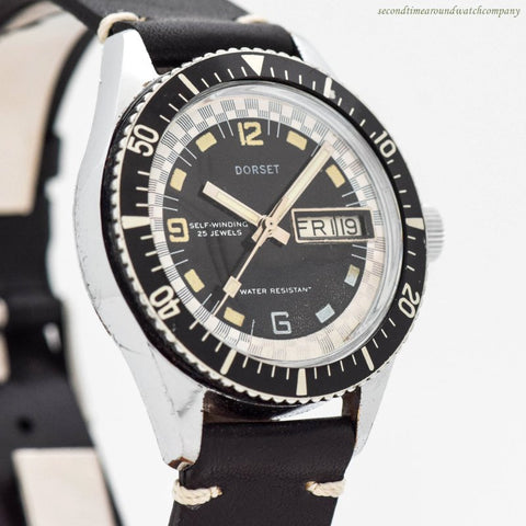 1970's era Dorset Diving Watch Retailed by Montgomery Ward in Base Metal & Stainless Steel