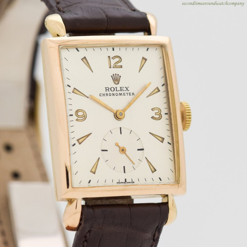 1945 Vintage Rolex Chronometer Reference 4469 Rectangular-shaped 14K Yellow Gold Watch