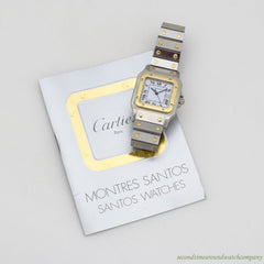 1990's era Cartier Santos Men's Sized 18k Yellow Gold & Stainless Steel Watch