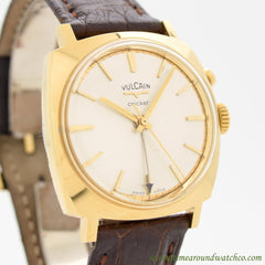 1970's Vintage Vulcain Cricket Alarm Yellow Gold Plated Watch