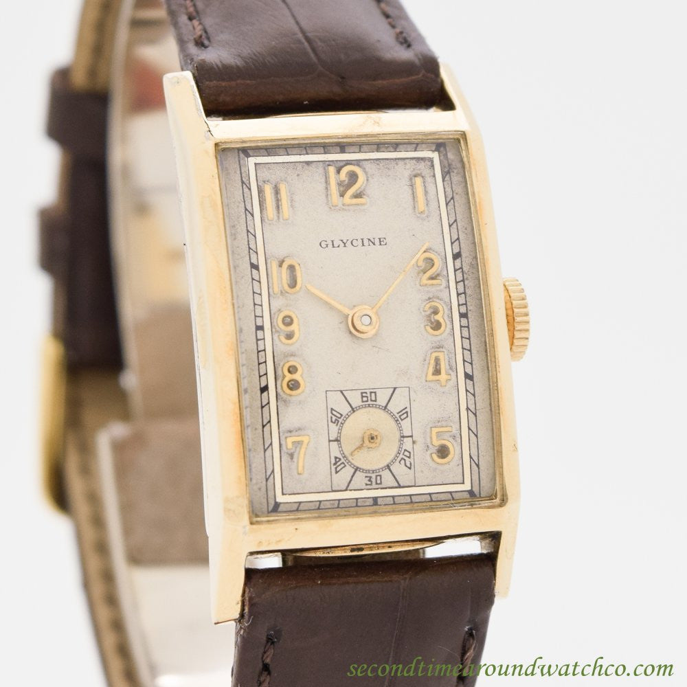 1940's Vintage Glycine Rectangular-shaped 10k Yellow Gold Filled Watch
