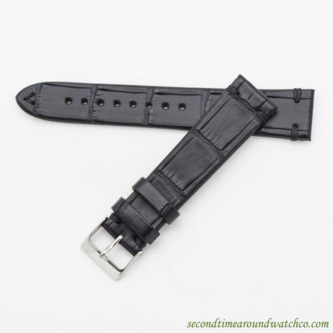 "100% Genuine Alligator ""Vintage-style"" Watch Straps -- Matte Black"