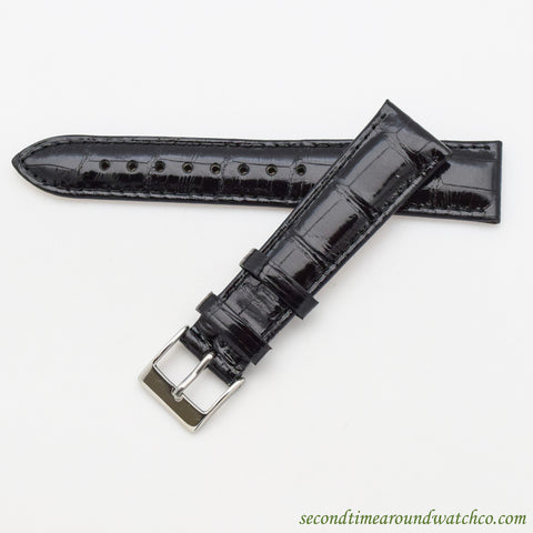 100% Genuine Alligator Watch Straps -- Glossy Black