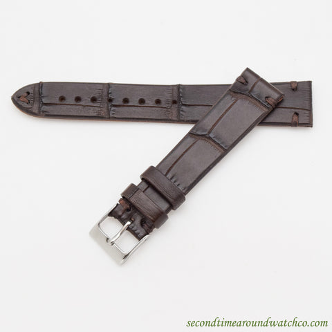"100% Genuine Alligator ""Vintage-style"" Watch Straps -- Matte Dark Chocolate Brown"