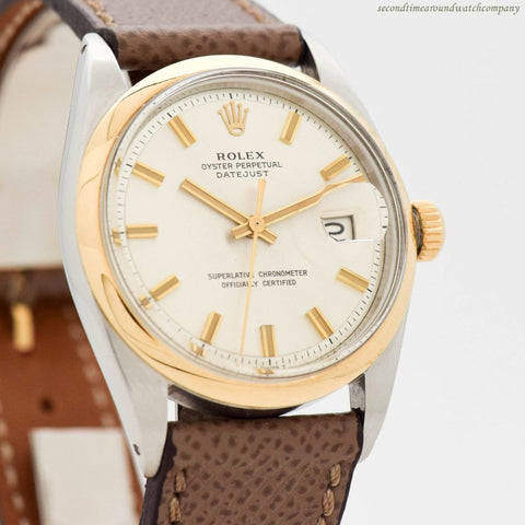 1968 Vintage Rolex Datejust Ref. 1601 18k Yellow Gold & Stainless Steel Watch