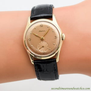 1950's Vintage Alpina 14k Yellow Gold Watch
