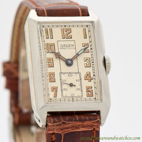 1930's Vintage Gruen Rectangular-shaped 14K White Gold Watch