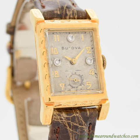 1940's Vintage Bulova Rectangular-shaped 10k Yellow Gold Filled Watch