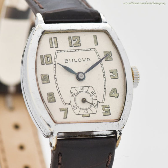 1930 Vintage Bulova Tonneau-shaped Chrome & Nickle Watch (# 12824)