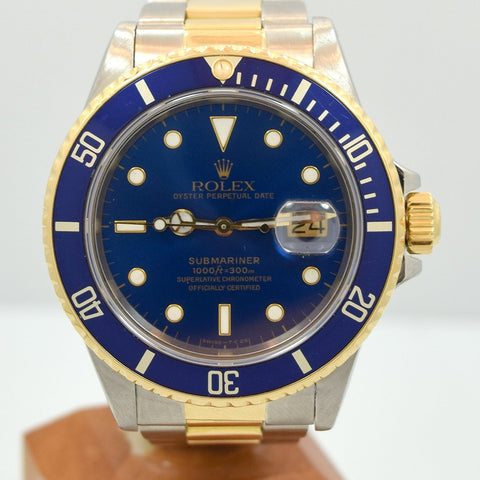 1987 Rolex Blue Submariner 18k Yellow Gold & Stainless Steel Ref. 16803