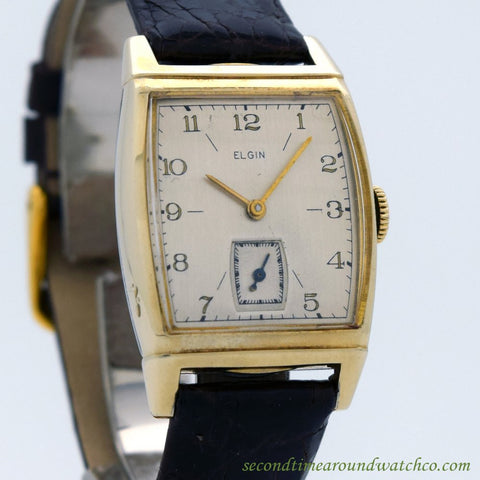 1948 Vintage Elgin Rectangular-shaped 10k Yellow Gold Filled & Base Metal watch