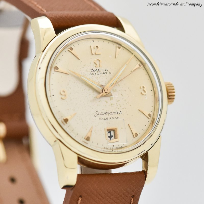 1954 Vintage Omega Seamaster Calendar Reference 2757-11-SC 14k Yellow Gold Shell Over Stainless Steel Watch