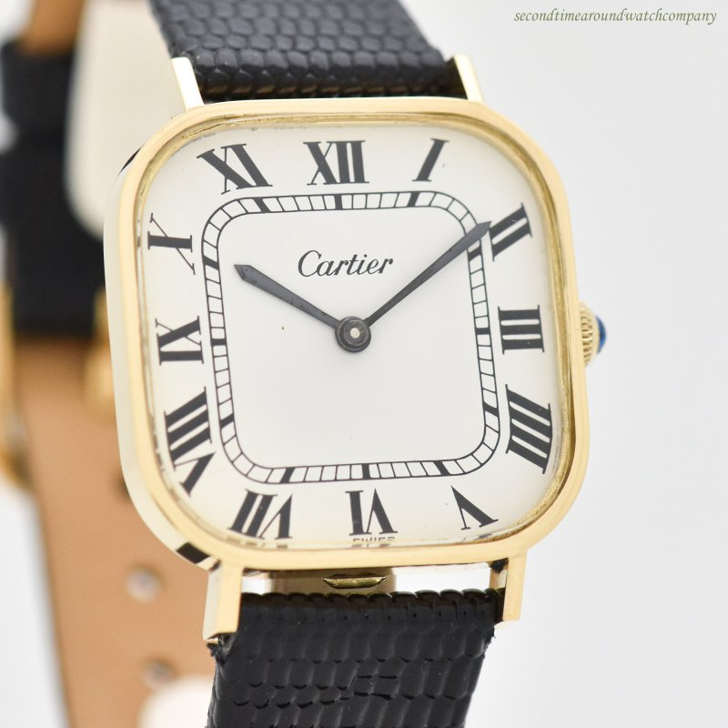 1970's Vintage Cartier Square 18k Yellow Gold Watch