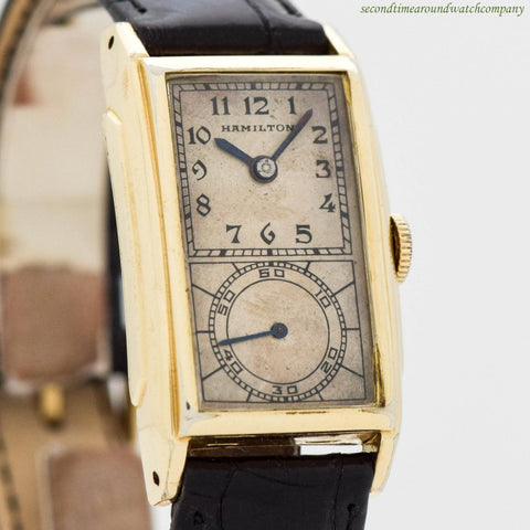 1938 Vintage Hamilton Seckron 14k Yellow Gold Filled Watch