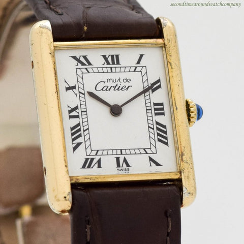 1990's era Cartier Tank Must De 18k Yellow Gold Plated Watch