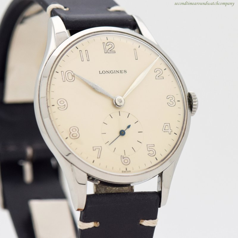 1956 Vintage Longines Jumbo Stainless Steel Watch
